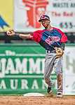 8 July 2014: Lowell Spinners infielder Raymel Flores turns a double-play to end the second inning against the Vermont Lake Monsters at Centennial Field in Burlington, Vermont. The Lake Monsters rallied in the 9th inning to defeat the Spinners 5-4 in NY Penn League action. Mandatory Credit: Ed Wolfstein Photo *** RAW Image File Available ****