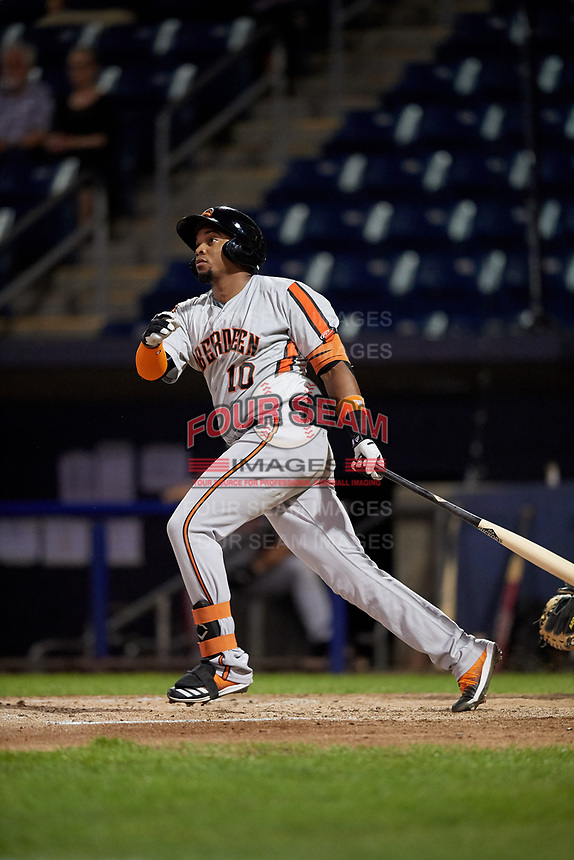 Aberdeen Ironbirds Yusniel Diaz (10) at bat during a NY-Penn League game against the Staten Island Yankees on August 22, 2019 at Richmond County Bank Ballpark in Staten Island, New York.  Aberdeen defeated Staten Island in a rain shortened game.  (Mike Janes/Four Seam Images)