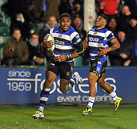 Semesa Rokoduguni runs in his first try of the match. Amlin Challenge Cup match, between Bath Rugby and Bordeaux-Begles on January 16, 2014 at the Recreation Ground in Bath, England. Photo by: Patrick Khachfe / Onside Images