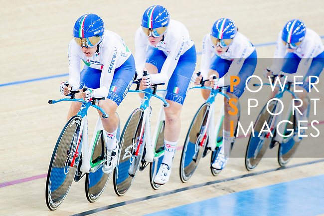The team of Italy with Elisa Balsamo, Simona Frapporti, Francesca Pattaro and Silvia Valsecchi compete in the Women's Team Pursuit Finals as part of the 2017 UCI Track Cycling World Championships on 13 April 2017, in Hong Kong Velodrome, Hong Kong, China. Photo by Marcio Rodrigo Machado / Power Sport Images