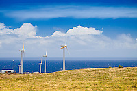 Wind turbines at Upolu Airport Wind Farm, Uplolu Point, Hawi, North Kohala, Big Island.
