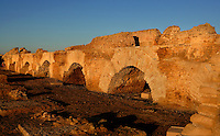 "Low angle view of arches of the Roman Acqueduct of Zaghouan, Carthage, Tunisia, pictured on January 30, 2008, in the morning. Carthage was founded in 814 BC by the Phoenicians who fought three Punic Wars against the Romans over this immensely important Mediterranean harbour. The Romans finally conquered the city in 146 BC. Subsequently it was conquered by the Vandals and the Byzantine Empire. Today it is a UNESCO World Heritage. The aqueduct was built in the 2nd century AD, during the reign of the emperor Hadrian and supplied the nearby cisterns (""Citernes de la Malga""). Picture by Manuel Cohen."
