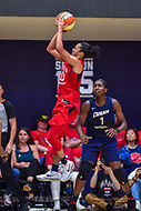 Washington, DC - August 31, 2018: Washington Mystics guard Kristi Toliver (20) shoots a jump shot over Atlanta Dream center Elizabeth Williams (1) during semi finals playoff game between Atlanta Dream and Wasington Mystics at the Charles Smith Center at George Washington University in Washington, DC. (Photo by Phil Peters/Media Images International)
