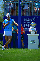 Lexi Thompson (USA) says a short prayer near the trophy on the number 1 tee before Sunday's final round of the 2017 KPMG Women's PGA Championship, at Olympia Fields Country Club, Olympia Fields, Illinois. 7/2/2017.<br /> Picture: Golffile | Ken Murray<br /> <br /> <br /> All photo usage must carry mandatory copyright credit (&copy; Golffile | Ken Murray)