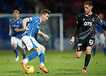 St Johnstone v Kilmarnock...07.11.15  SPFL  McDiarmid Park, Perth<br /> Steven MacLean is closed down by Kevin McHattie<br /> Picture by Graeme Hart.<br /> Copyright Perthshire Picture Agency<br /> Tel: 01738 623350  Mobile: 07990 594431