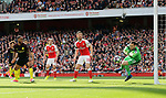Arsenal's David Ospina pulls off a good save from Manchester City's Raheem Sterling during the Premier League match at the Emirates Stadium, London. Picture date: April 2nd, 2017. Pic credit should read: David Klein/Sportimage