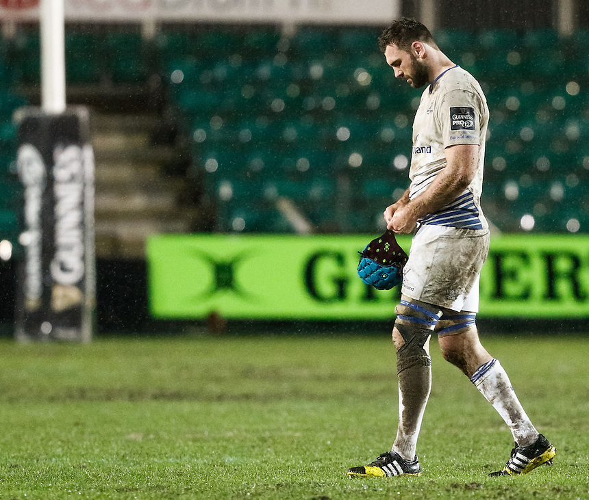 Leinster's Tadgh Beirne looks dejected after the loss<br /> <br /> Photographer Simon KIng/CameraSport<br /> <br /> Rugby Union - Guinness PRO12 Round 13 - Newport Gwent Dragons v Leinster - Friday 29th January 2016 - Rodney Parade - Newport<br /> <br /> &copy; CameraSport - 43 Linden Ave. Countesthorpe. Leicester. England. LE8 5PG - Tel: +44 (0) 116 277 4147 - admin@camerasport.com - www.camerasport.com