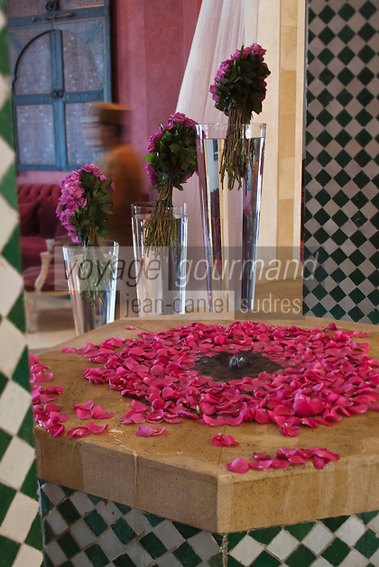 Afrique/Afrique du Nord/Maroc/Essaouira: Fontaine et fleurs, Hall de l'Hôtel Sofitel Médina Beach & Spa
