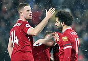17th March 2018, Anfield, Liverpool, England; EPL Premier League football, Liverpool versus Watford; Mohammed Salah of Liverpool is congratulated after scoring his fourth goal by captain Jordan Henderson