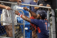 Lowell Spinners designated hitter Brandon Phillips (7) signs autographs after a game against the Auburn Doubledays on July 13, 2018 at Falcon Park in Auburn, New York.  Phillips was promoted to Triple-A Pawtucket after the game; the former All-Star signed a minor league free agent deal with the Boston Red Sox June 27th and played six games with the Spinners batting .318 with one home run and 7 RBI's.  Lowell defeated Auburn 8-5 in ten innings (Mike Janes/Four Seam Images)