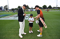 29th November 2019, Hamilton, New Zealand;  Joe Root and Henry Nicholls with ANZ coin toss competition winner on day 1 of the 2nd international cricket test match between New Zealand and England at Seddon Park, Hamilton, New Zealand. Friday 29 November 2019