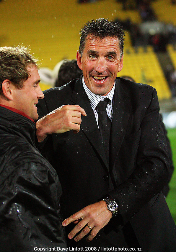 Canterbury coach Rob Penney is all smiles after the win during the Air NZ Cup Final between Wellington and Canterbury at Westpac Stadium, Wellington, New Zealand on Saturday 25th October 2008.  Photo: Dave Lintott / lintottphoto.co.nz