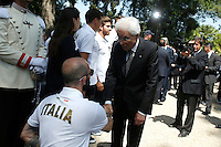 Sergio Mattarella stringe la mano ad un atleta paralimpico<br /> Roma 22-06-2016 Quirinale. Incontro del presidente con gli atleti che parteciperanno alle olimpiadi e alle paralimpiadi di Rio 2016, e consegna della bandiera alle rispettive portabandiera, che quest'anno sono due donne.<br /> Rome 22nd June 2016. Quirinal. The President meets the italian athletes of the Rio 2016 Olympic Games and delivers the flag to the respective standard-bearers<br /> Photo Samantha Zucchi Insidefoto