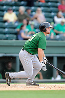 Designated hitter Jon Leroux (33) of the Savannah Sand Gnats, bats in a game against the Greenville Drive on Sunday, July 5, 2015, at Fluor Field at the West End in Greenville, South Carolina. Savannah won, 8-6. (Tom Priddy/Four Seam Images)