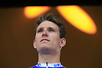 French National Champion Arnaud Demare (FRA) FDJ team on stage at the Team Presentation in Burgplatz Dusseldorf before the 104th edition of the Tour de France 2017, Dusseldorf, Germany. 29th June 2017.<br /> Picture: Eoin Clarke | Cyclefile<br /> <br /> <br /> All photos usage must carry mandatory copyright credit (&copy; Cyclefile | Eoin Clarke)