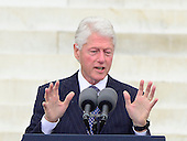 Former United States President Bill Clinton makes remarks at the Let Freedom Ring ceremony on the steps of the Lincoln Memorial to commemorate the 50th Anniversary of the March on Washington for Jobs and Freedom.<br /> Credit: Ron Sachs / CNP