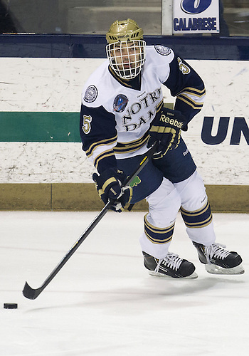 December 07, 2012:  Notre Dame defenseman Robbie Russo (#5) during NCAA Hockey game action between the Notre Dame Fighting Irish and the Michigan State Spartans at Compton Family Ice Arena in South Bend, Indiana.  Notre Dame defeated Michigan State 3-2.