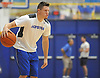 Hofstra University guard No. 14 Brian Bernardi dribbles during an informal men's basketball team workout at the team's practice facility on Wednesday, July 22, 2015.<br /> <br /> James Escher