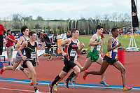 Early in the boys 1600-meter race including Blue Springs Stephen Mugeche, York's Matt Plowman, and Gilbert's Thomas Pollard at the 2015 Kansas Relays.