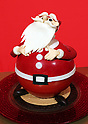"October 12, 2017, Tokyo, Japan - A Santa Claus shaped Christmas cake ""Santa Claus"" priced 16,000 yen is displayed at a press preview for the Prince Hotels chain's Christmas cake collection at the Prince Park Tower hotel  in Tokyo on Thursday, Octoebr 12, 2017. The hotel chain started to accept orders and will deliver before Christmas Day.   (Photo by Yoshio Tsunoda/AFLO) LWX -ytd-"