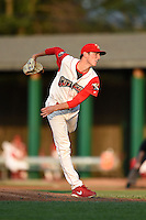 Williamsport Crosscutters pitcher Brandon Leibrandt (37) follows through on a pitch during a game against the Aberdeen IronBirds on August 4, 2014 at Bowman Field in Williamsport, Pennsylvania.  Aberdeen defeated Williamsport 6-3.  (Mike Janes/Four Seam Images)