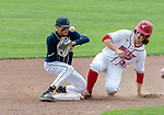 MIDDLETOWN, CT. 06 June 2018-060618BS568 - Wolcott's Trey Nastri (32) slides safely into second after Ledyard's Elijah Morton (6) can't control the ball thrown to him during the CIAC Tournament Class M Semi-Final baseball game between Ledyard and Wolcott at Palmer Field on Wednesday afternoon. Wolcott beat Ledyard 9-4 and advances to the Class M final this weekend. Bill Shettle Republican-American