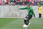 Brad Guzan, of the United States, takes a goal kick while playing in his first international game on Sunday, February 19th, 2005 at Pizza Hut Park in Frisco, Texas. The United States Men's National Team defeated Guatemala 4-0 in a men's international friendly.