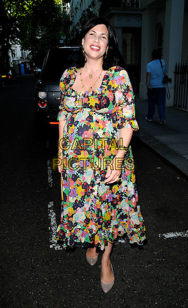 KIRSTIE ALLSOPP.The Tatler Summer Party, Hempel Hotel, London, England..June 25th, 2008.full length floral print dress black purple yellow pink pregnant .CAP/CAN.©Can Nguyen/Capital Pictures.