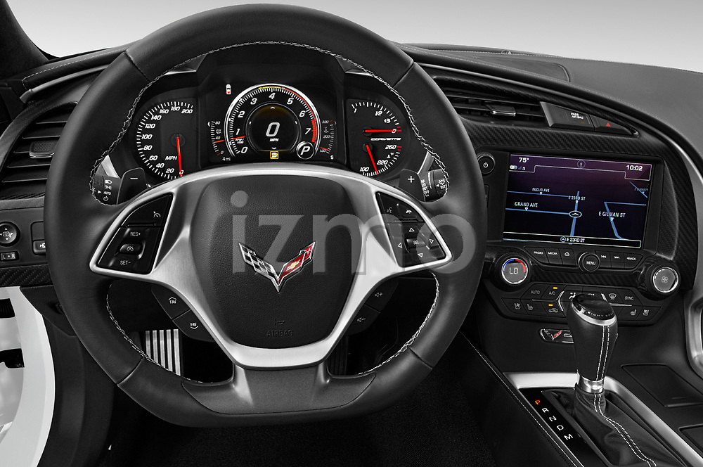 Car pictures of steering wheel view of a 2019 Chevrolet Corvette-Stingray 3LT 2 Door Coupe Steering Wheel