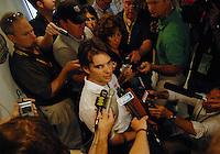 Apr 27, 2007; Talladega, AL, USA; Nascar Nextel Cup Series driver Jeff Gordon (24) is interviewed by the media prior to practice for the Aarons 499 at Talladega Superspeedway. Mandatory Credit: Mark J. Rebilas