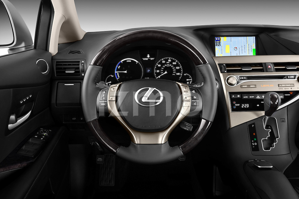 Steering wheel view of a 2013 Lexus RX 450H