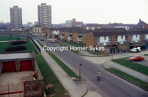 Hull, Humberside,  north of England. Housing estate in Hessle 1980s. UK