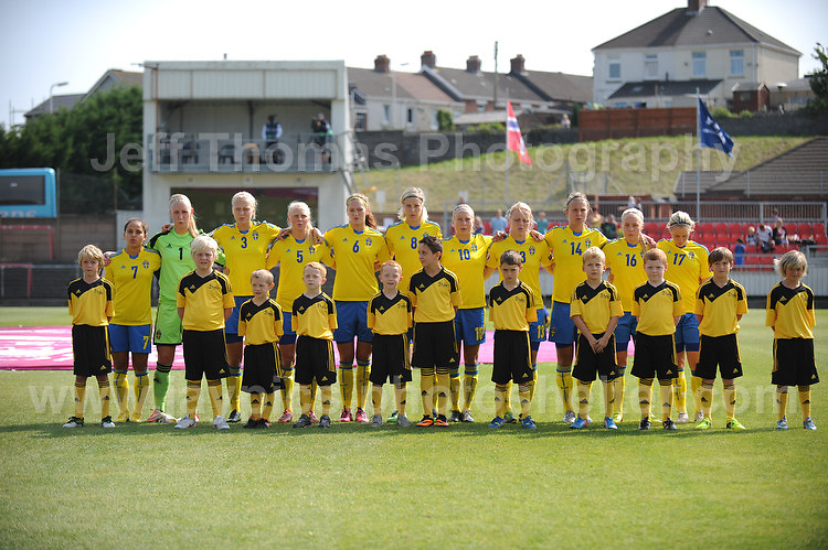 The Swedish team line up for the National anthems at the UEFA Womens U19 Championships at Stebonheath park Sunday 25th August 2013. All images are the copyright of Jeff Thomas Photography-www.jaypics.photoshelter.com-07837 386244-Any use of images must be authorised by the copyright owner.