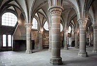 The scriptorium, named the Knights Chamber in the 15th century when Louis XI founded the Order of the Knights of Saint Michel, even if only used for monastic tasks, Norman style, on the second level of the Merveille (Marvel), 13th century, thanks to a donation by the king of France, Philip Augustus who offered Abbot Jourdain, a grant for the construction of a new Gothic-style architectural set, Le Mont Saint Michel, Manche, Basse Normandie, France. Picture by Manuel Cohen