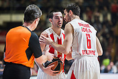 9th February 2018, Aleksandar Nikolic Hall, Belgrade, Serbia; Euroleague Basketball, Crvenz Zvezda mts Belgrade versus AX Armani Exchange Olimpia Milan; Forward Nemanja Dangubic of Crvena Zvezda mts Belgrade calms Guard Taylor Rochestie of Crvena Zvezda mts Belgrade