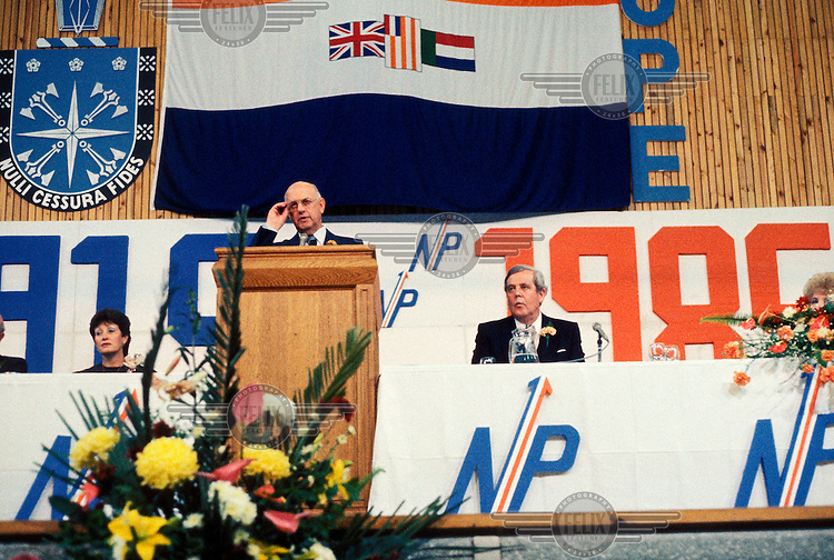 President PW Botha addresses those gathered for the National Party conference.