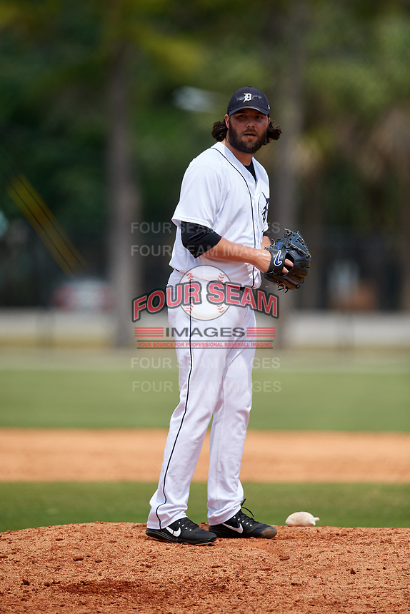 Detroit Tigers pitcher James Russell (41) during a Minor League Spring Training game against the Atlanta Braves on March 19, 2018 at the TigerTown Complex in Lakeland, Florida.  (Mike Janes/Four Seam Images)