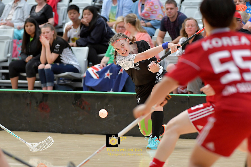 New Zealand's Sophie Scott in action during the World Floorball Championships 2017 Qualification for Asia Oceania Region - New Zealand v Korea at ASB Sports Centre , Wellington, New Zealand on Sunday 5 February 2017.<br /> Photo by Masanori Udagawa<br /> www.photowellington.photoshelter.com.