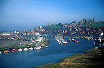 Whitby harbour and abbey, north Yorkshire, England