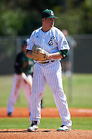 Eastern Michigan Eagles starting pitcher Davis Feldman (3) gets ready to deliver a pitch during a game against the Dartmouth Big Green on February 25, 2017 at North Charlotte Regional Park in Port Charlotte, Florida.  Dartmouth defeated Eastern Michigan 8-4.  (Mike Janes/Four Seam Images)