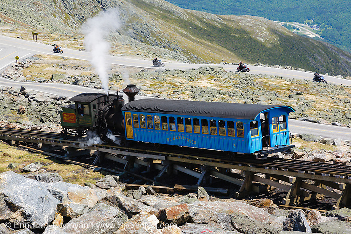 Mount Washington Cog on the summit of Mount Washington in the White Mountains, New Hampshire USA. This is the Moosilauke Locomotive