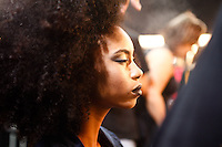 SAO PAULO, SP, 18 DE MARCO 2013 - SPFW CAVALERA - Modelos no backtage da grife Cavalera no primeiro dia do São Paulo Fashion Week primavera-verão na Bienal do Ibirapuera na região sul da cidade de São Paulo nesta segunda-feira, 18. .FOTO: POLINE LYS - BRAZIL PHOTO PRESS.