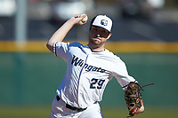 Wingate Bulldogs relief pitcher Chris Macca (29) in action against the Concord Mountain Lions at Ron Christopher Stadium on February 2, 2020 in Wingate, North Carolina. The Mountain Lions defeated the Bulldogs 12-11. (Brian Westerholt/Four Seam Images)