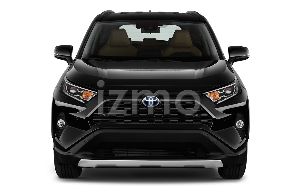 Car photography straight front view of a 2019 Toyota RAV4 Premium-hybrid 5 Door SUV Front View