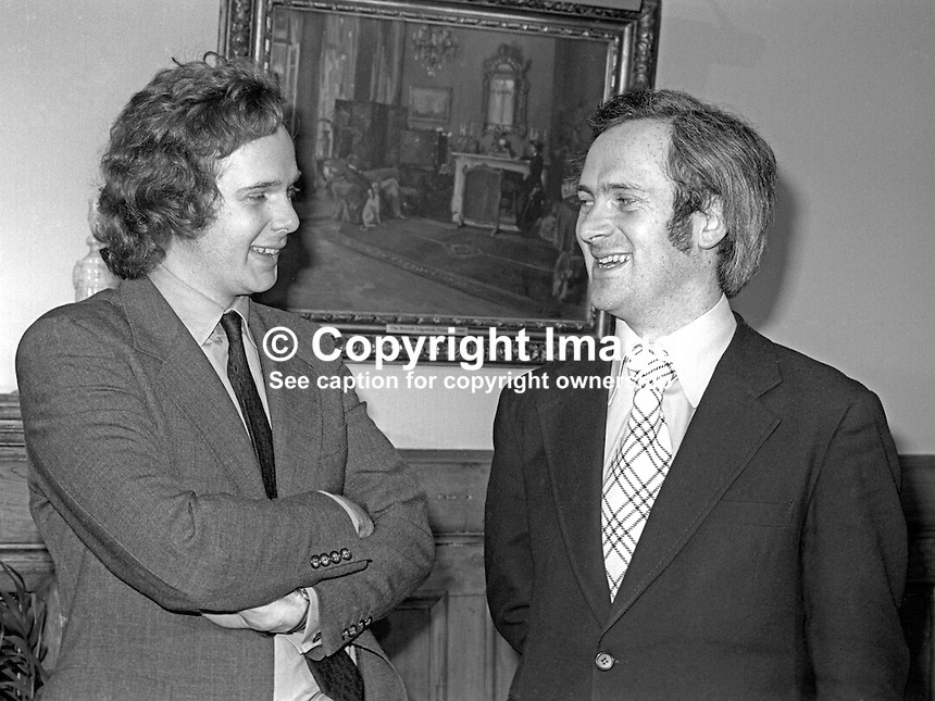 Lord Melchett aka Peter Melchett, Minister of State, N Ireland Office, left, with John Bruton, Republic of Ireland Minister for Education, at an inter-governmental meeting at Stormont Castle, Belfast, N Ireland, January 1977. 197701000022LM1<br /> <br /> Copyright Image from Victor Patterson, 54 Dorchester Park, Belfast, UK, BT9 6RJ<br /> <br /> Tel: +44 28 9066 1296<br /> Mob: +44 7802 353836<br /> Voicemail +44 20 8816 7153<br /> Skype: victorpattersonbelfast<br /> Email: victor@victorpatterson.com<br /> Email: victorpatterson@me.com (back-up)<br /> <br /> IMPORTANT: If you wish to use this image or any other of my images please go to www.victorpatterson.com and click on the Terms &amp; Conditions. Then contact me by email or phone with the reference number(s) of the image(s) concerned.