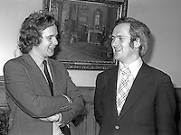 Lord Melchett aka Peter Melchett, Minister of State, N Ireland Office, left, with John Bruton, Republic of Ireland Minister for Education, at an inter-governmental meeting at Stormont Castle, Belfast, N Ireland, January 1977. 197701000022LM1<br />