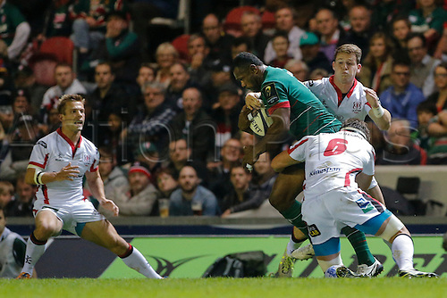 18.10.2014.  Leicester, England.  European Rugby Champions Cup. Leicester Tigers versus Ulster.  Vereniki Goneva of Leicester Tigers is tackled by Robbie Diack (6) and Tommy Bowe of Ulster Rugby.   Final score: Leicester Tigers 25-18 Ulster Rugby.