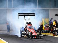 Mar 13, 2015; Gainesville, FL, USA; NHRA top fuel driver Chris Karamesines during qualifying for the Gatornationals at Auto Plus Raceway at Gainesville. Mandatory Credit: Mark J. Rebilas-