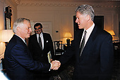 United States President Bill Clinton meets Governor Chris Patten of Hong Kong in the Map Room of the White House in Washington, DC on May 9, 1996.<br /> Mandatory Credit: Robert McNeely / White House via CNP