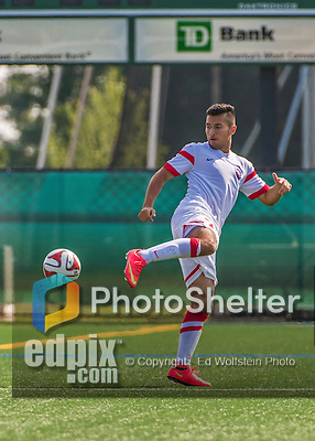 5 September 2014: St. Francis College Terrier Midfielder David Pardo, a Freshman from Fort Collins, CO, in action against the University of Massachusetts River Hawks, at Virtue Field in Burlington, Vermont. The River Hawks defeated the Terriers 3-1, on the first day of the Morgan Stanley Smith Barney Windjammer Classic Men's Soccer Tournament. Mandatory Credit: Ed Wolfstein Photo *** RAW (NEF) Image File Available ***